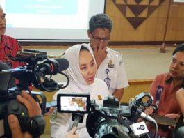 Kepala BMKG Dwikorita Karnawati ketika menyampaikan himbauan mengenai cuaca pada saat Mudik Lebaran 2019 kepada Media di Jakarta pada Rabu (29/05/2019).(Photo Pool BMKG)