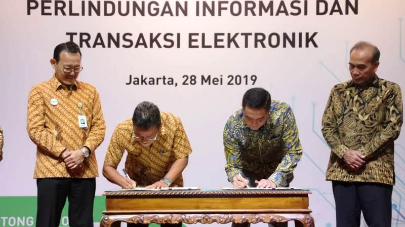 Penandatangan kerjasama BSSN dengan BPJS Kesehatan di Jakarta, Selasa (28/05/2019) - (Lukman Hqeem)